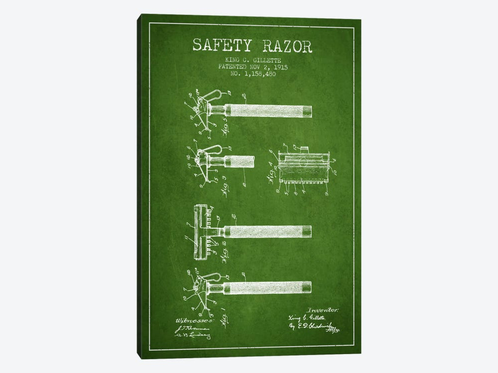 Razor Green Patent Blueprint by Aged Pixel 1-piece Art Print