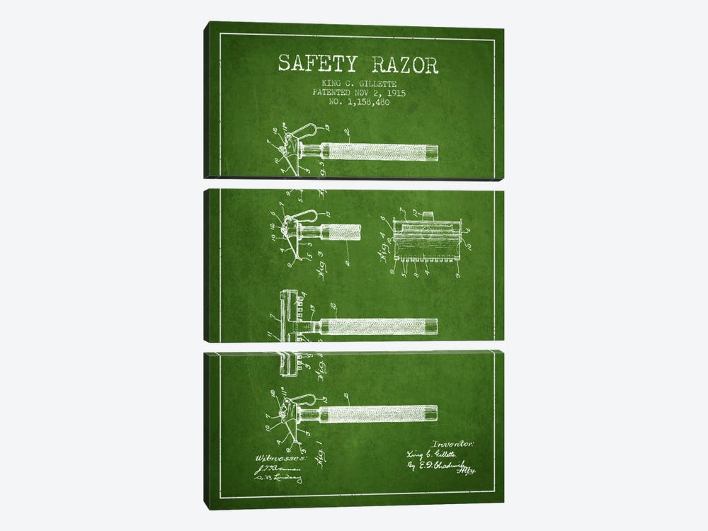Razor Green Patent Blueprint by Aged Pixel 3-piece Canvas Art Print