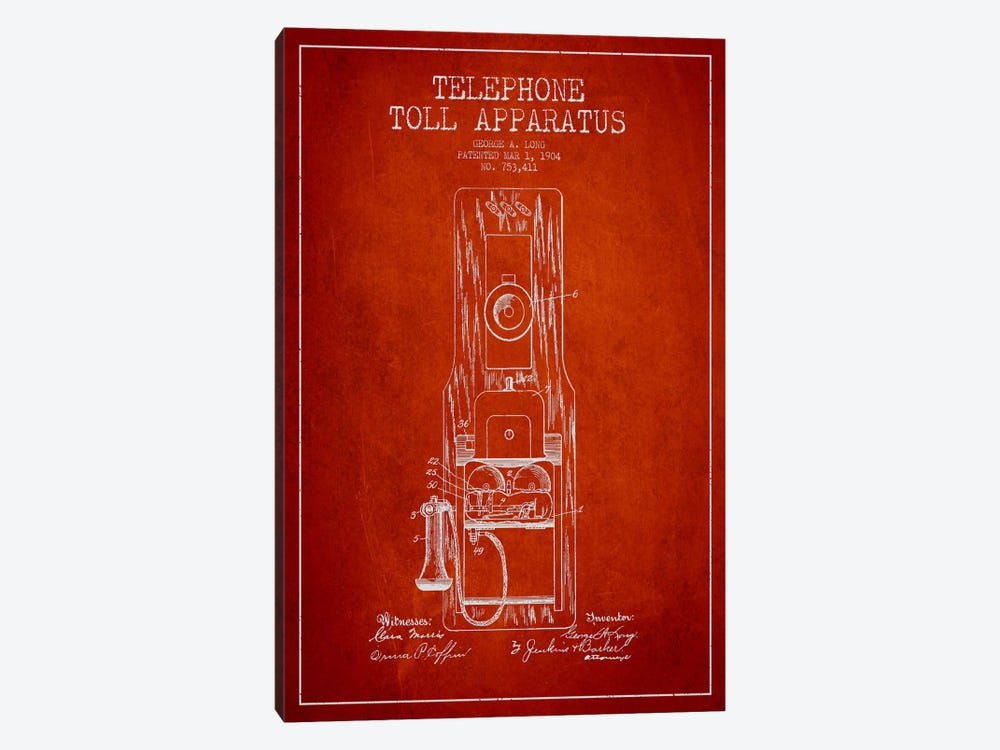 Long Telephone Toll Red Patent Blueprint by Aged Pixel 1-piece Art Print