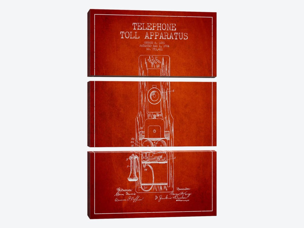 Long Telephone Toll Red Patent Blueprint by Aged Pixel 3-piece Canvas Print