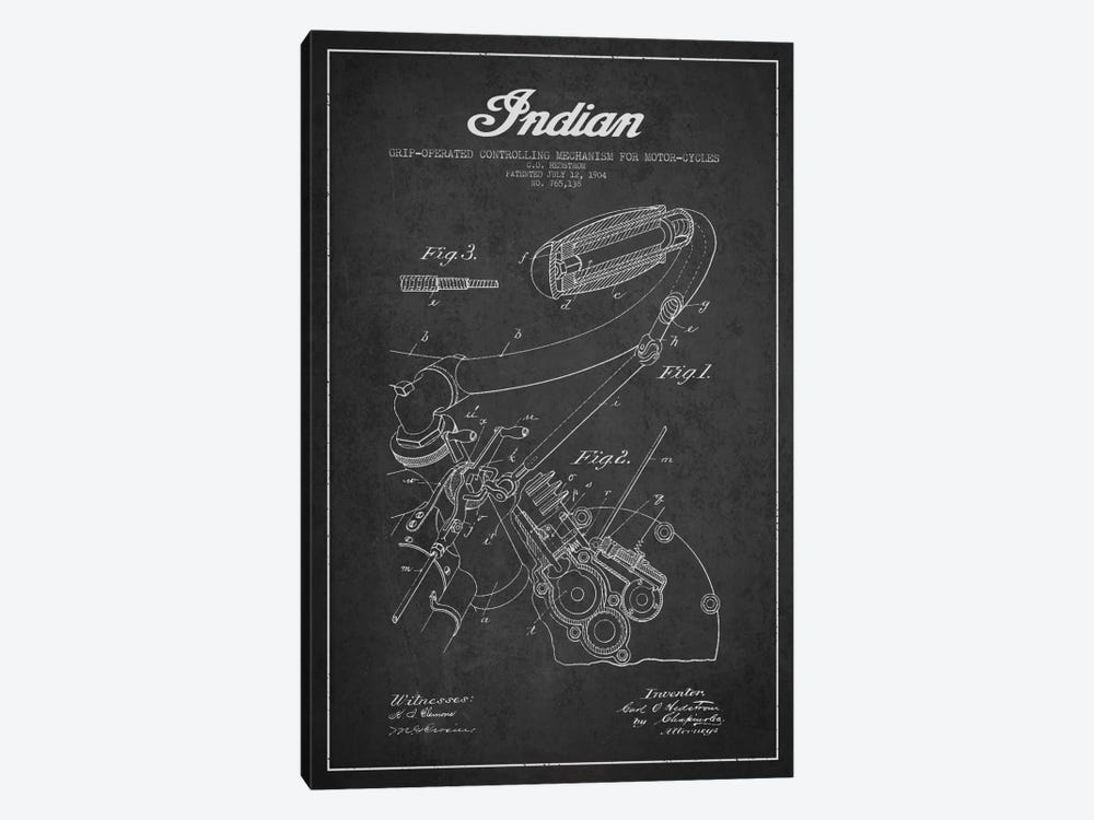 Indian Charcoal Patent Blueprint by Aged Pixel 1-piece Canvas Artwork