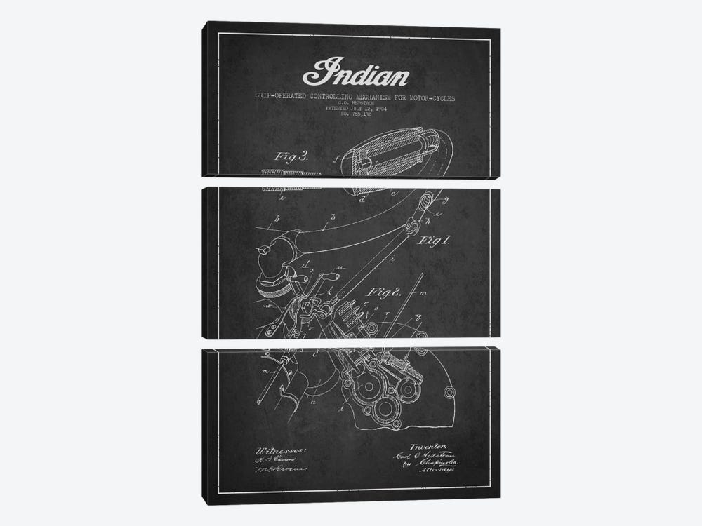 Indian Charcoal Patent Blueprint by Aged Pixel 3-piece Canvas Artwork