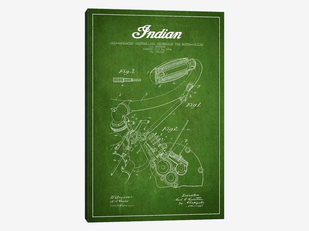 Indian Green Patent Blueprint 1-piece Canvas Art Print