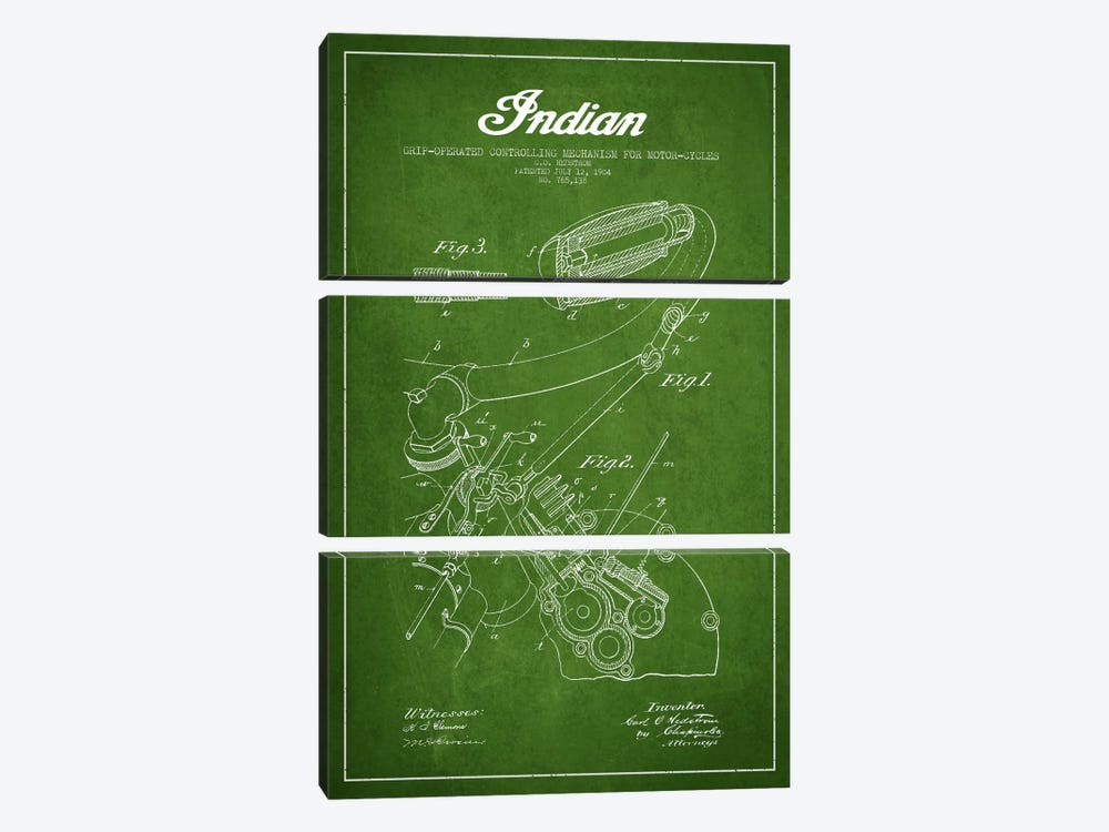 Indian Green Patent Blueprint by Aged Pixel 3-piece Canvas Art Print