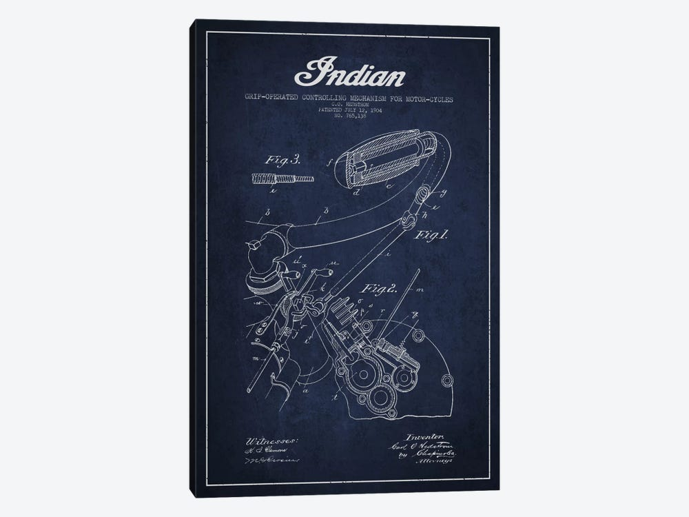Indian Navy Blue Patent Blueprint 1-piece Canvas Wall Art