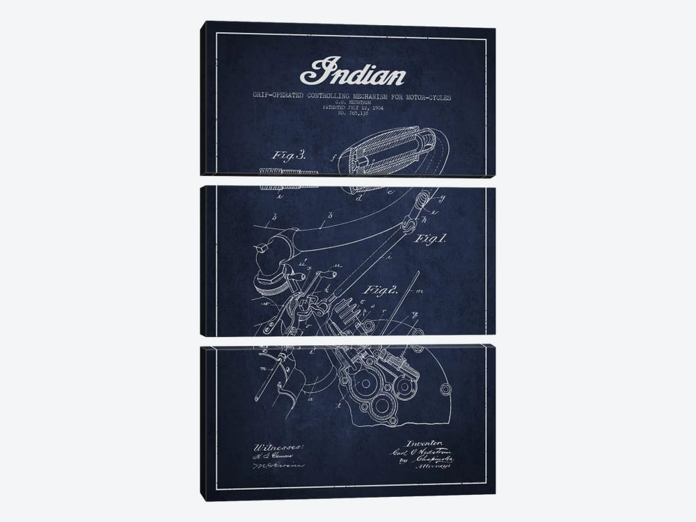 Indian Navy Blue Patent Blueprint by Aged Pixel 3-piece Canvas Wall Art