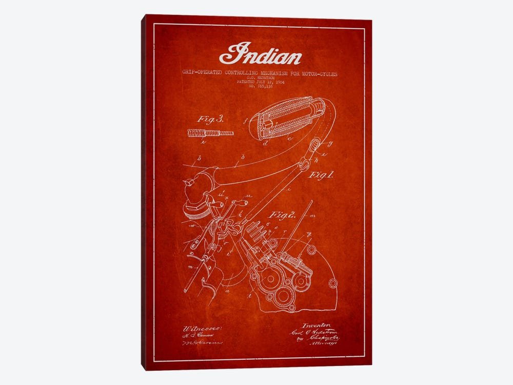 Indian Red Patent Blueprint by Aged Pixel 1-piece Art Print