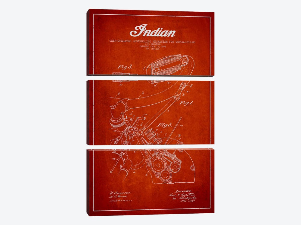 Indian Red Patent Blueprint by Aged Pixel 3-piece Art Print
