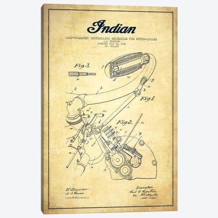 Indian Vintage Patent Blueprint Canvas Print #ADP2504} by Aged Pixel Canvas Artwork