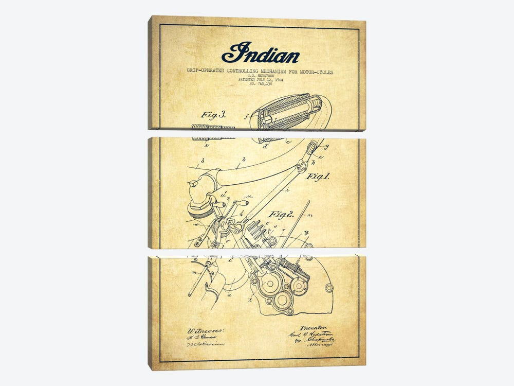 Indian Vintage Patent Blueprint by Aged Pixel 3-piece Canvas Wall Art