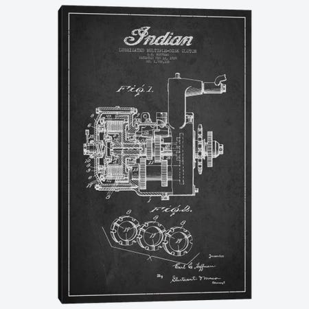 Indian Clutch Charcoal Patent Blueprint Canvas Print #ADP2505} by Aged Pixel Canvas Wall Art