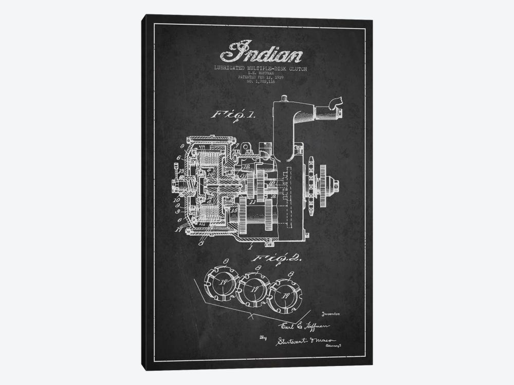 Indian Clutch Charcoal Patent Blueprint by Aged Pixel 1-piece Canvas Art Print