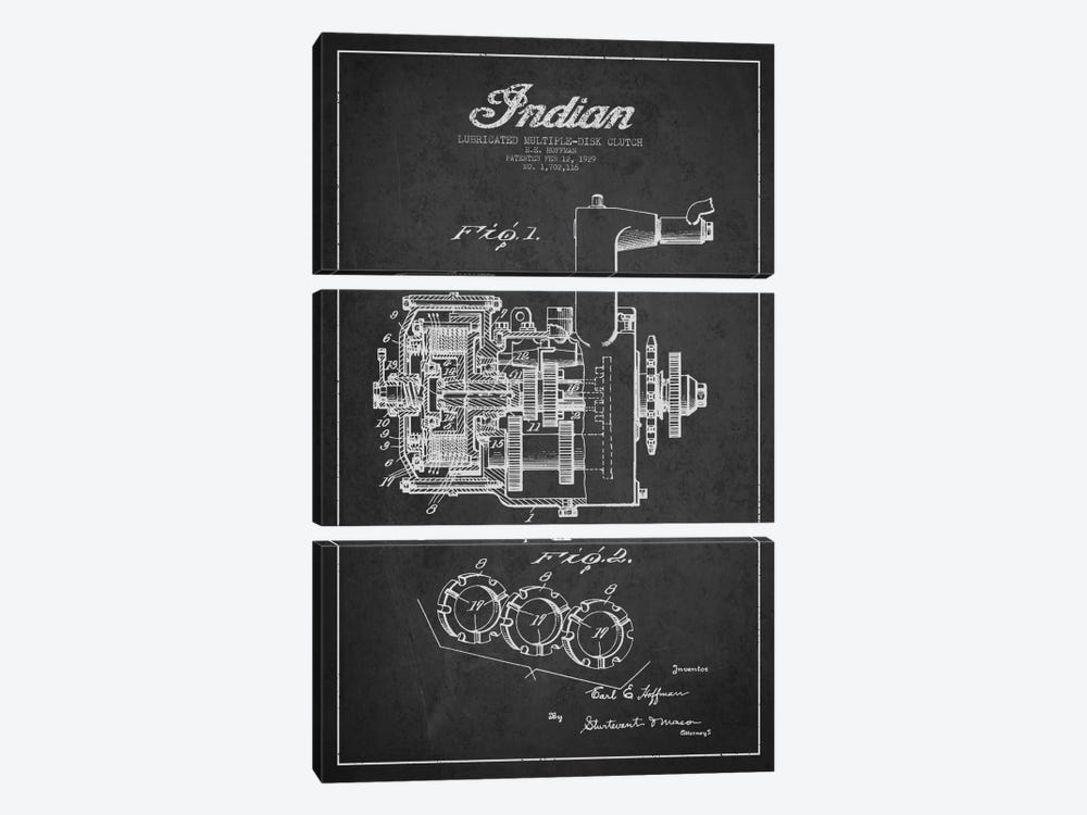 Indian Clutch Charcoal Patent Blueprint by Aged Pixel 3-piece Canvas Art Print