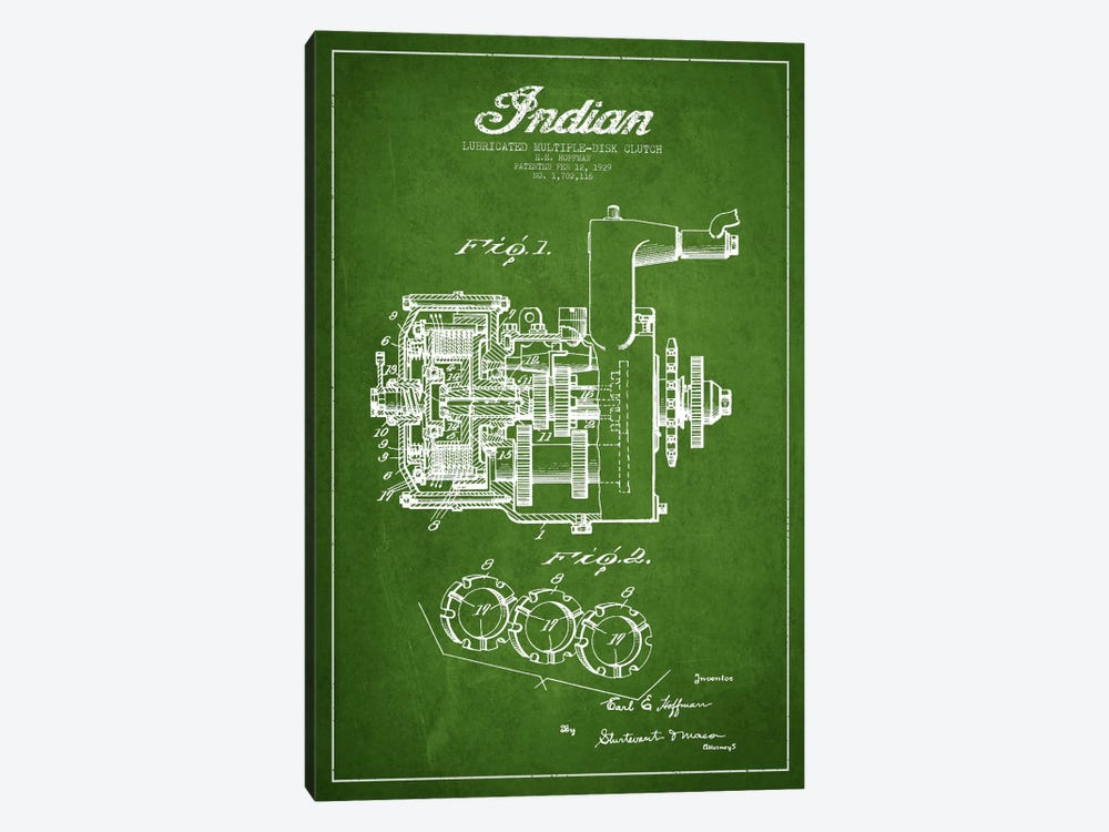 Indian Clutch Green Patent Blueprint by Aged Pixel 1-piece Canvas Artwork