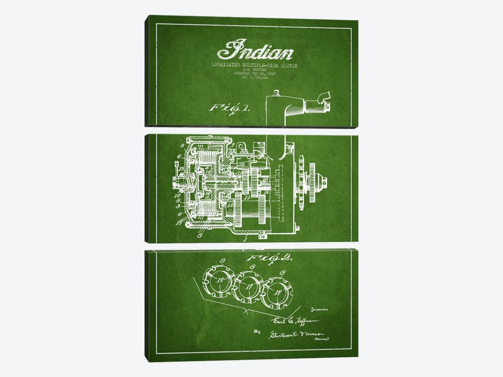 Indian Clutch Green Patent Blueprint by Aged Pixel 3-piece Canvas Artwork