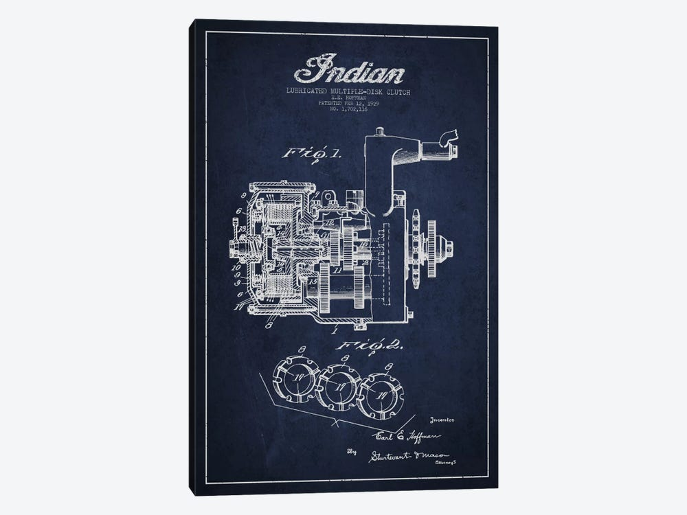 Indian Clutch Navy Blue Patent Blueprint by Aged Pixel 1-piece Art Print