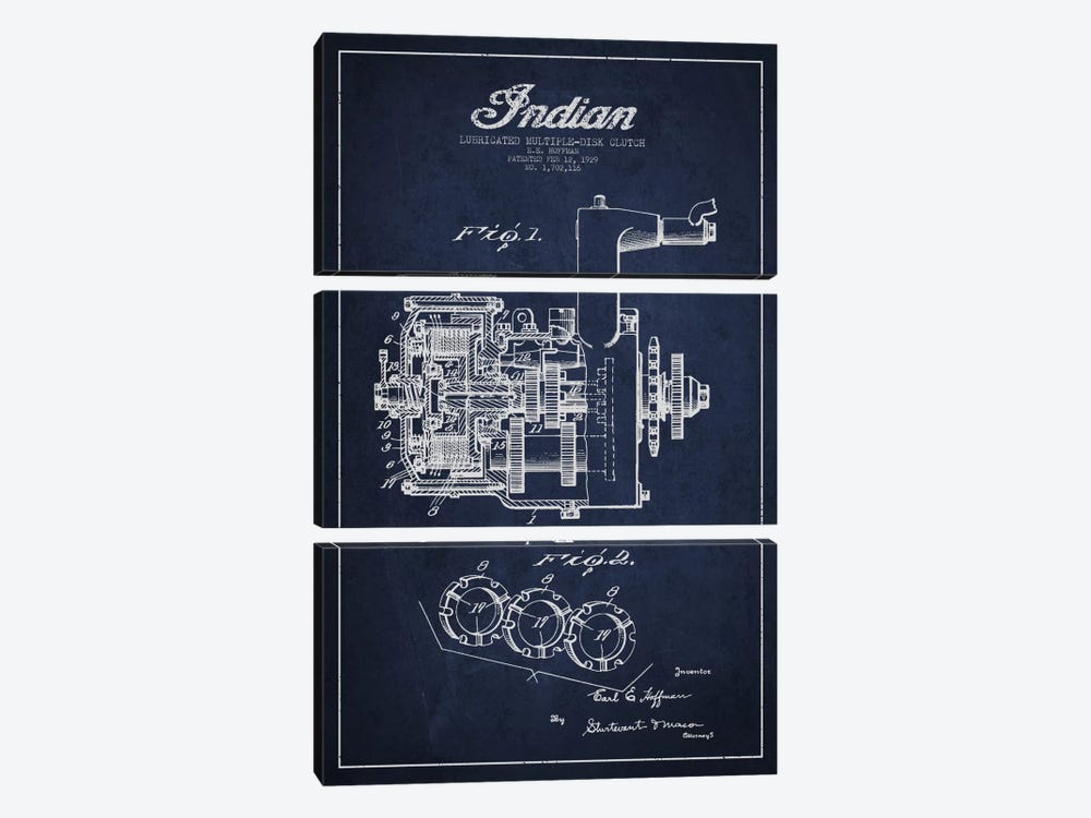 Indian Clutch Navy Blue Patent Blueprint by Aged Pixel 3-piece Canvas Print