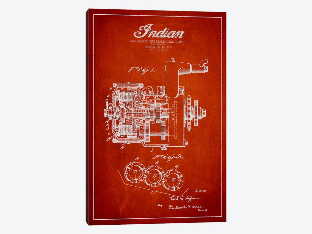 Indian Clutch Red Patent Blueprint by Aged Pixel 1-piece Canvas Wall Art