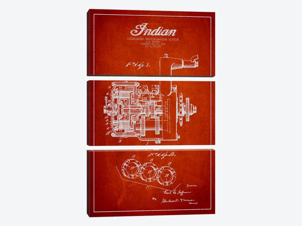 Indian Clutch Red Patent Blueprint by Aged Pixel 3-piece Canvas Art