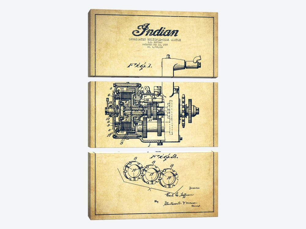 Indian Clutch Vintage Patent Blueprint by Aged Pixel 3-piece Art Print