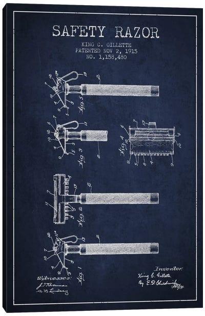Razor Navy Blue Patent Blueprint Canvas Print #ADP250