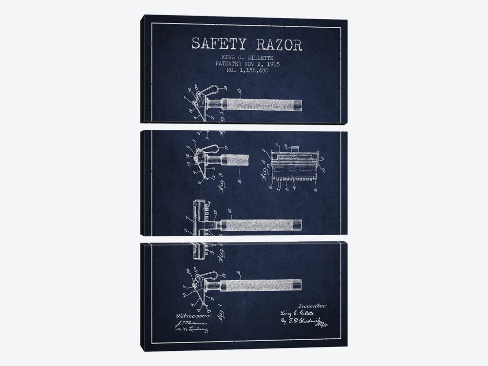 Razor Navy Blue Patent Blueprint by Aged Pixel 3-piece Art Print