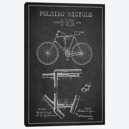 Bike Charcoal Patent Blueprint Canvas Print #ADP2510} by Aged Pixel Canvas Art