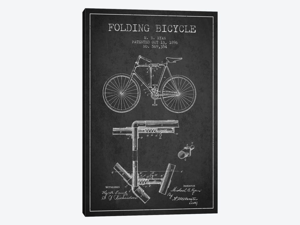 Bike Charcoal Patent Blueprint by Aged Pixel 1-piece Canvas Art Print