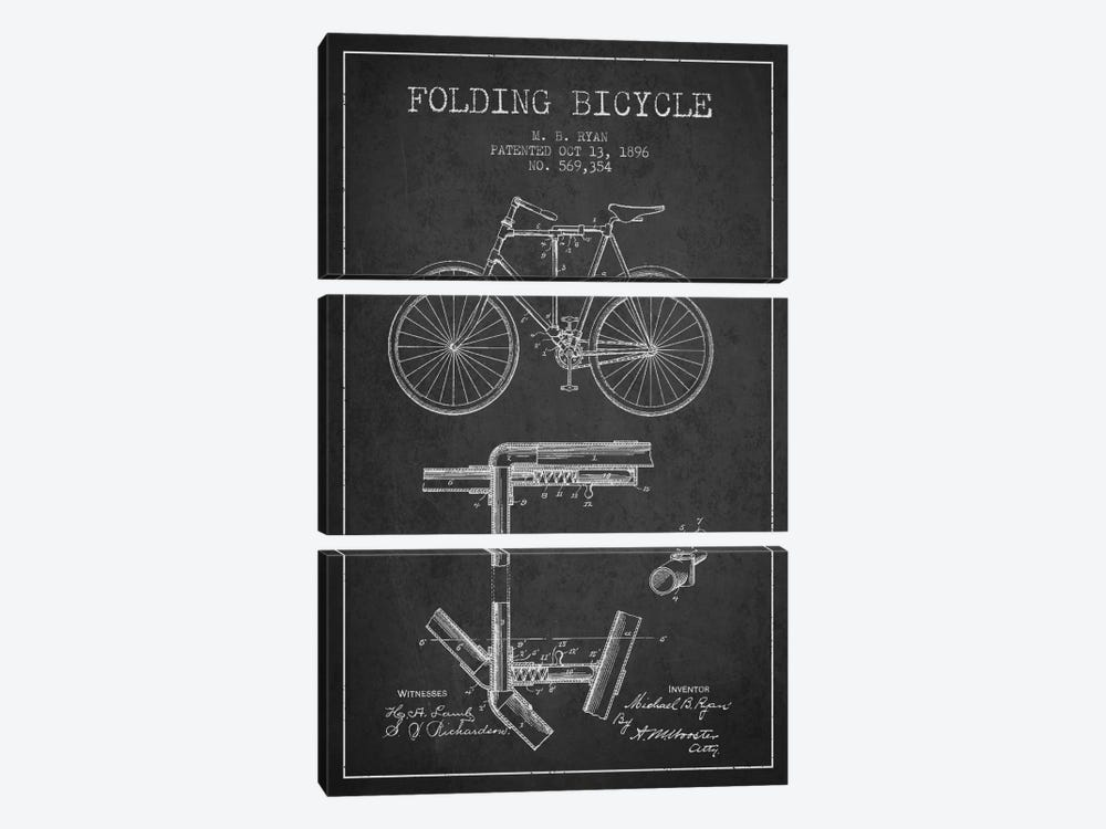 Bike Charcoal Patent Blueprint by Aged Pixel 3-piece Canvas Print