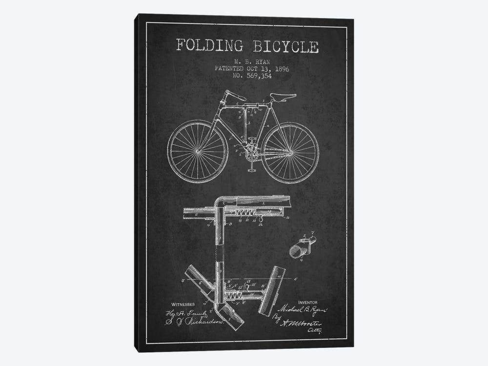 Bike Charcoal Patent Blueprint by Aged Pixel 1-piece Canvas Art Print