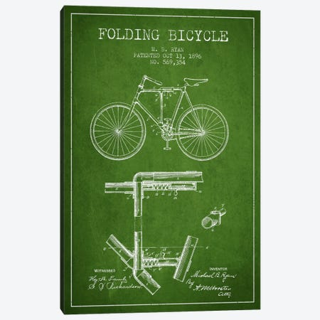 Bike Green Patent Blueprint Canvas Print #ADP2511} by Aged Pixel Canvas Art