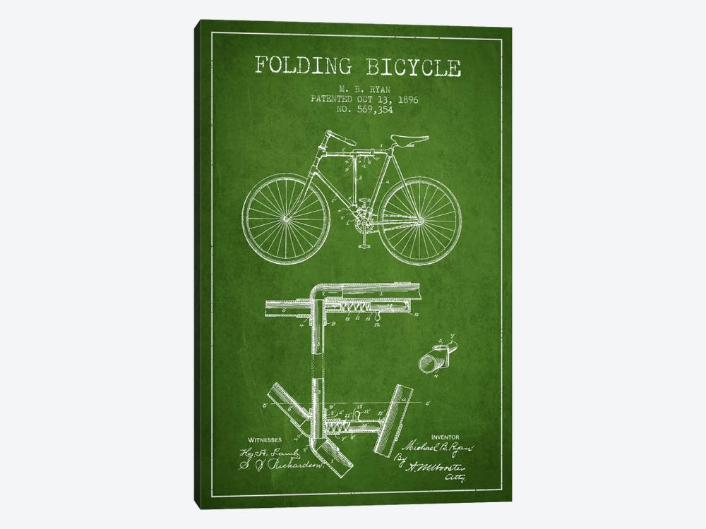 Bike Green Patent Blueprint by Aged Pixel 1-piece Canvas Wall Art
