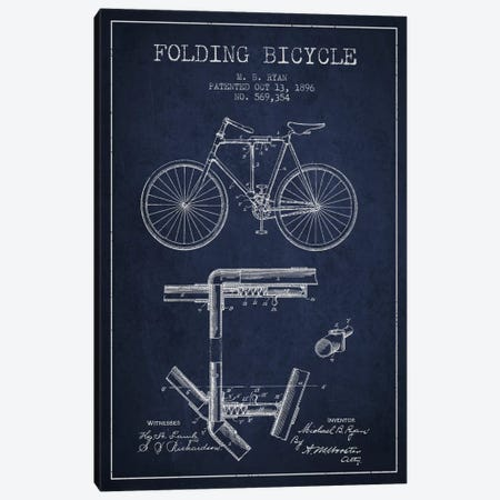 Bike Navy Blue Patent Blueprint Canvas Print #ADP2512} by Aged Pixel Canvas Artwork