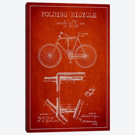 Bike Red Patent Blueprint Canvas Print #ADP2513} by Aged Pixel Canvas Wall Art