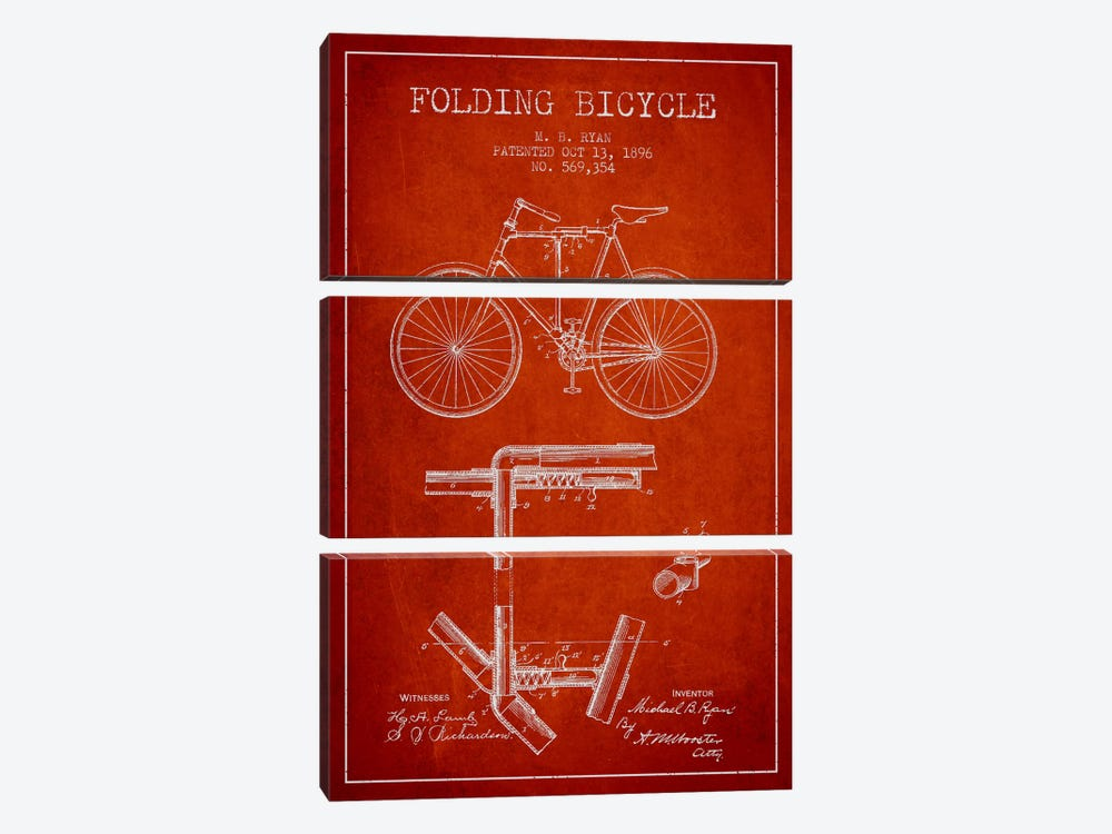 Bike Red Patent Blueprint by Aged Pixel 3-piece Canvas Artwork