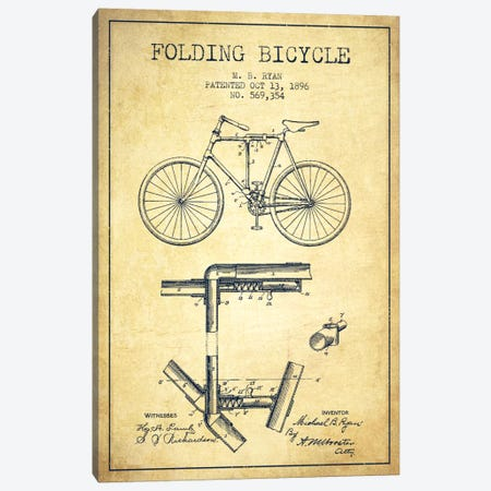 Bike Vintage Patent Blueprint Canvas Print #ADP2514} by Aged Pixel Canvas Art Print