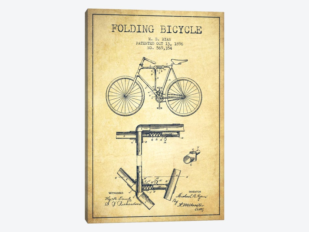 Bike Vintage Patent Blueprint by Aged Pixel 1-piece Art Print