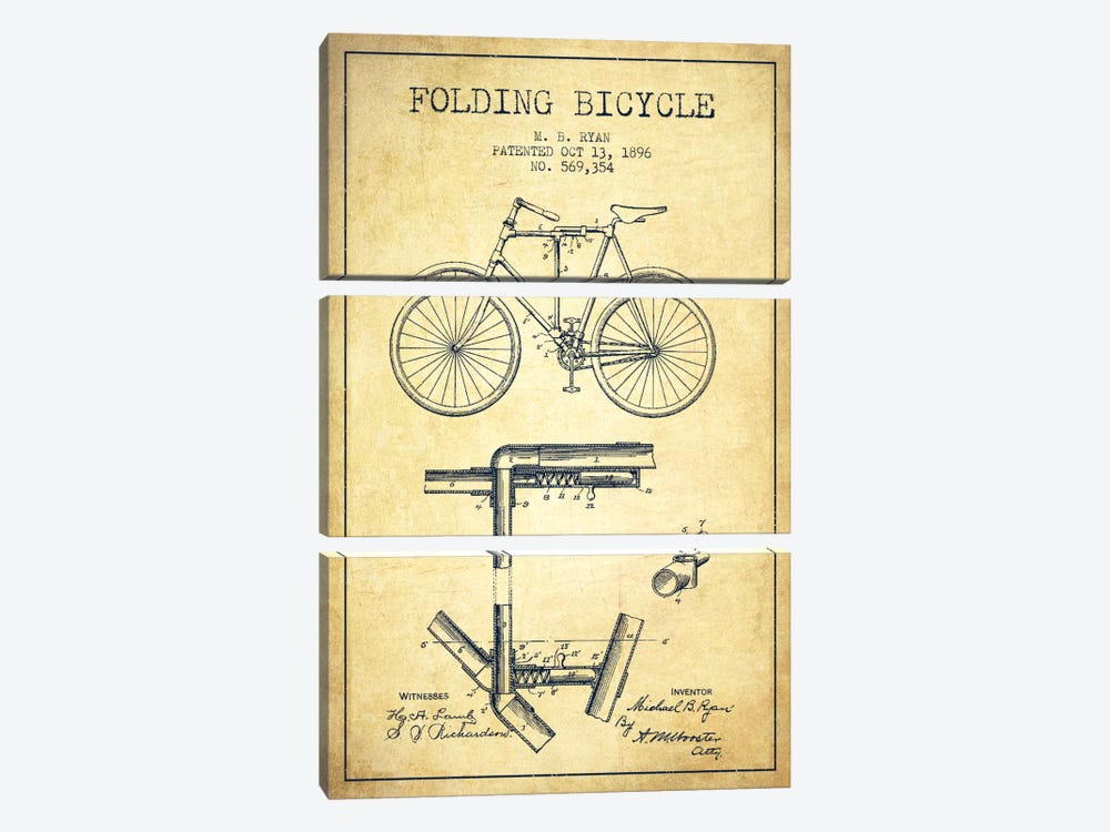 Bike Vintage Patent Blueprint by Aged Pixel 3-piece Canvas Print