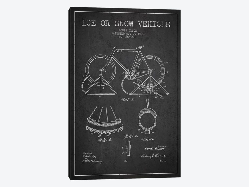Bike Charcoal Patent Blueprint 1-piece Canvas Artwork