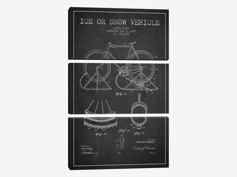 Bike Charcoal Patent Blueprint by Aged Pixel 3-piece Canvas Art