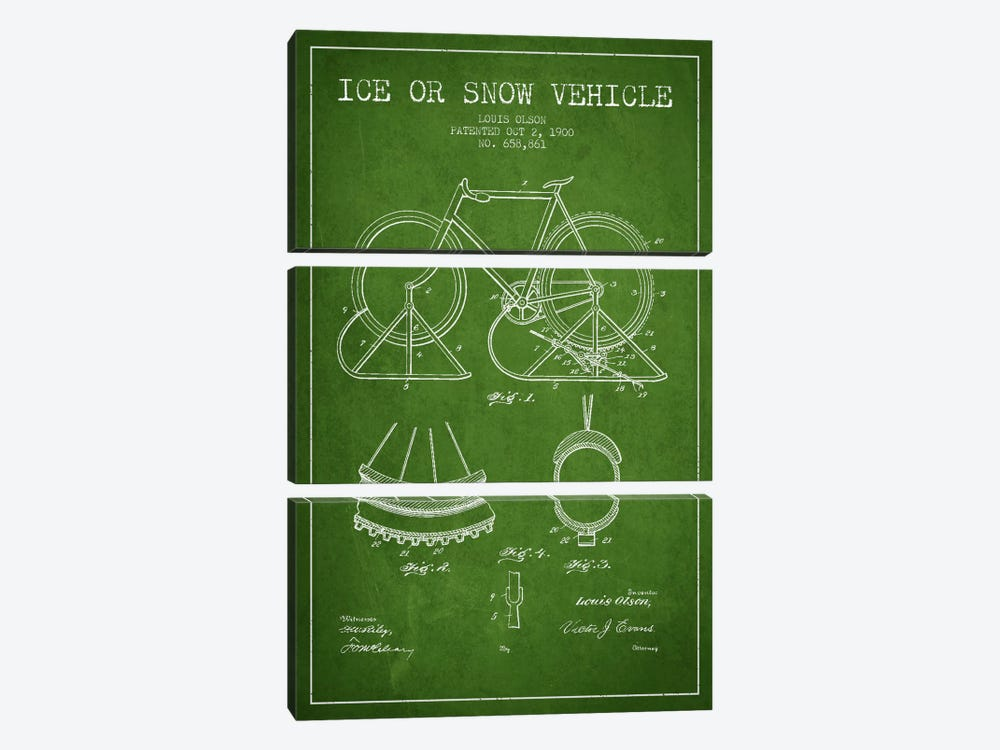 Bike Green Patent Blueprint by Aged Pixel 3-piece Canvas Print
