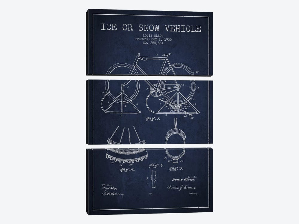 Bike Navy Blue Patent Blueprint by Aged Pixel 3-piece Canvas Art