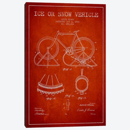 Bike Red Patent Blueprint Canvas Print #ADP2518} by Aged Pixel Canvas Artwork