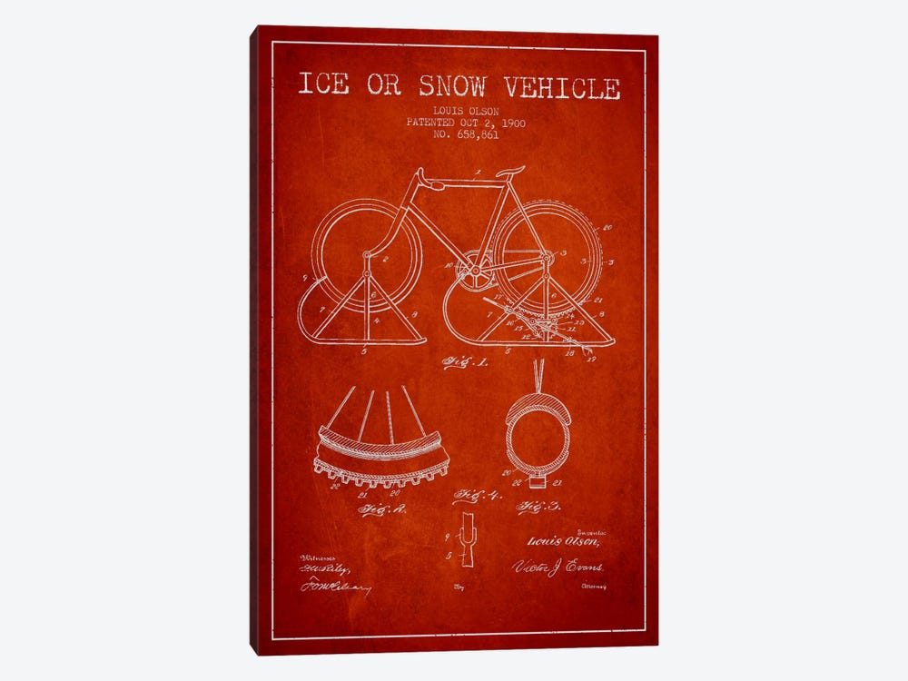 Bike Red Patent Blueprint by Aged Pixel 1-piece Canvas Art Print