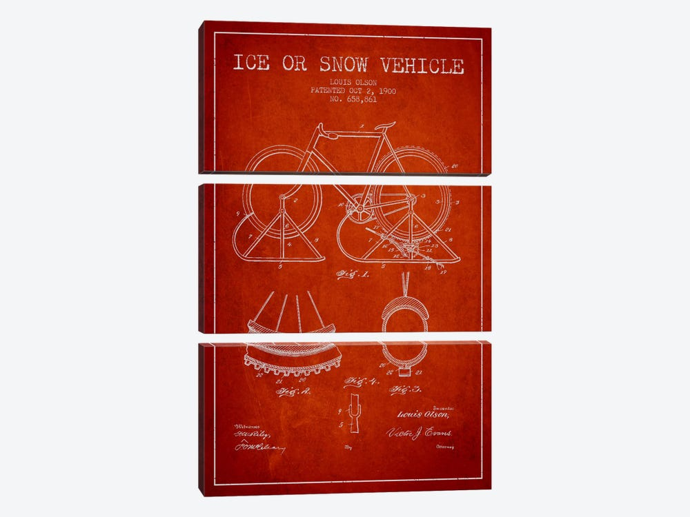 Bike Red Patent Blueprint by Aged Pixel 3-piece Canvas Art Print