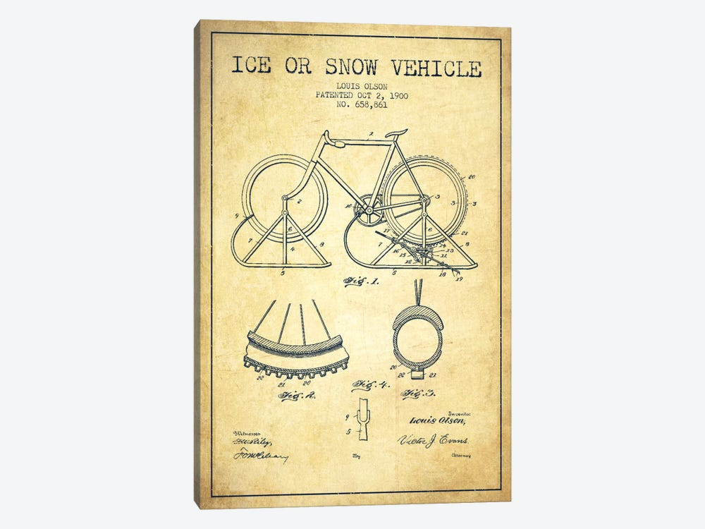 Bike Vintage Patent Blueprint by Aged Pixel 1-piece Canvas Art