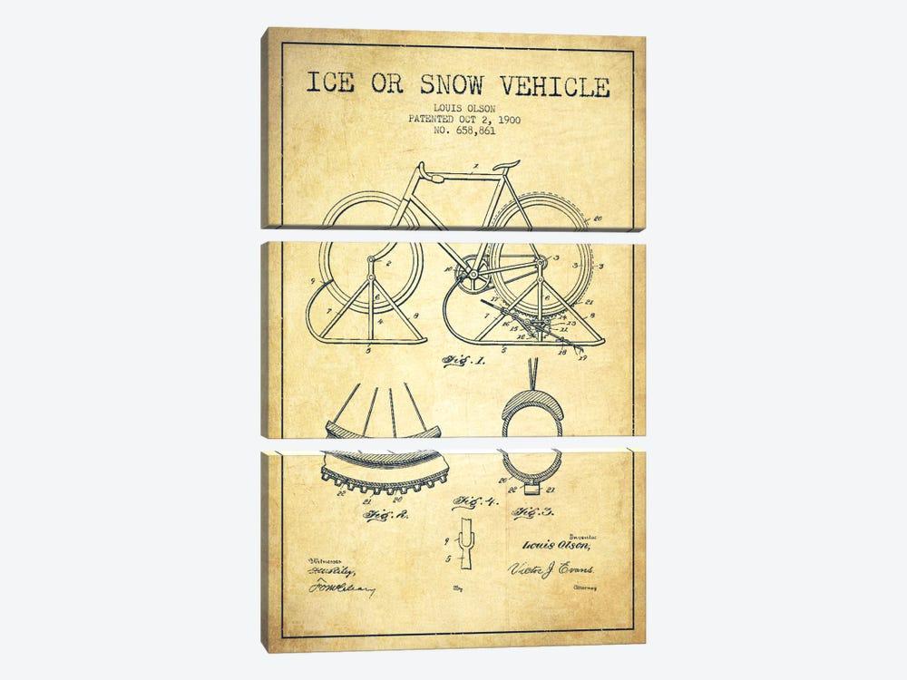 Bike Vintage Patent Blueprint by Aged Pixel 3-piece Canvas Artwork