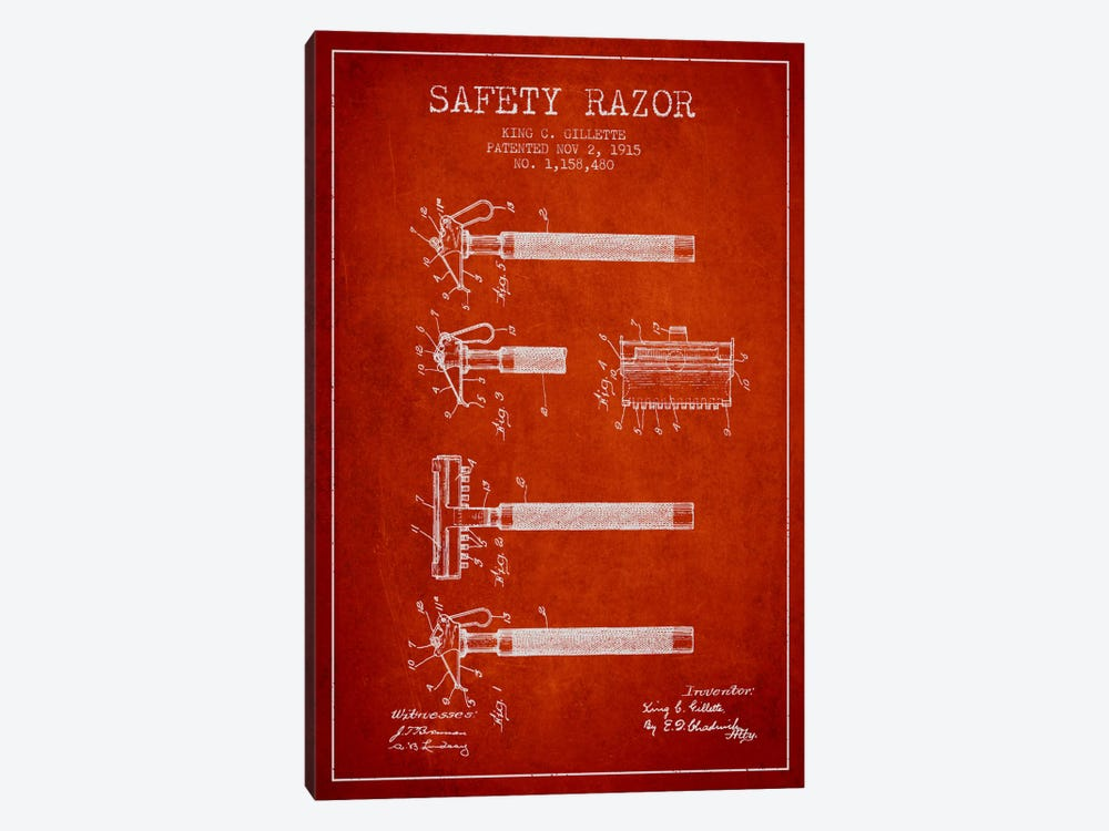 Razor Red Patent Blueprint by Aged Pixel 1-piece Canvas Art