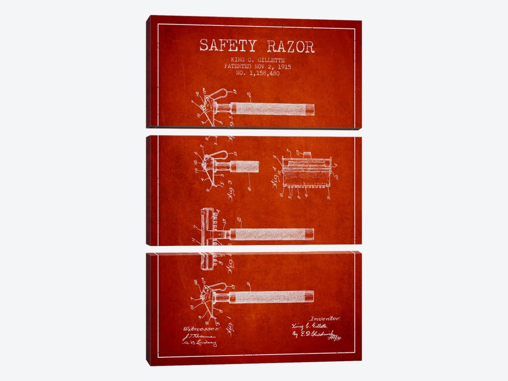 Razor Red Patent Blueprint by Aged Pixel 3-piece Canvas Wall Art
