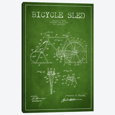 Bike Green Patent Blueprint Canvas Print #ADP2521} by Aged Pixel Canvas Print